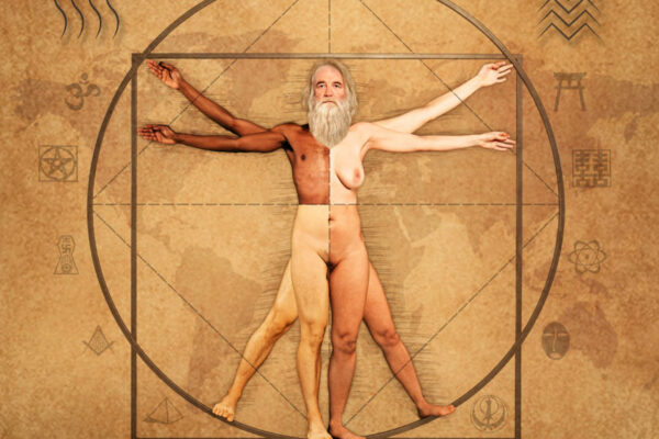 """Leonardo da Vinci's """"Vitruvian Man"""", a symbol of the aesthetics of the Renaissance, is one of the most famous drawings in history.  Building up on Leonardo da Vinci's masterpiece, photographer and art director Mathias Kniepeiss developed the project """"weROne"""" in cooperation with 20 extraordinary skilled people.   """"weROne"""" shows that we all belong to the same species, regardless of gender, country borders, age, skin colour, sexual orientation, religion and ethnicity.  The image merges symbols and regularities from science, mathematics, religion, ethics, art, architecture and nature to motivate people towards a more attentive social interaction with their fellow human beings, their surroundings as well as the planet itself.  """"weROne"""" symbolises freedom, equality, solidarity, tolerance, respect and shared responsibility."""